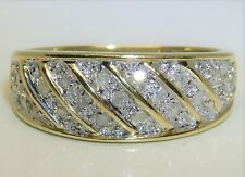 9CT 0.1CT DIAMOND CLUSTER ETERNITY BOMBE BAND RING YELLOW GOLD Size M 1/2