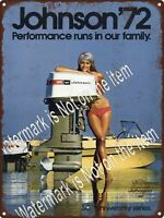 "1972 Johnson Outboard Motor 125 Bikini Girl Man Cave Metal Sign 9x12"" A489"