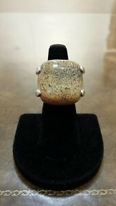 """LARGE """"FOSSIL STONE"""" STERLING SILVER RING GREAT STONE AND DESIGN """"UNIQUE COLOR"""""""