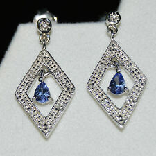 Genuine .30ct Pear Blue Tanzanite & Diamond Accent Earrings 925 Sterling Silver