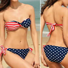 American Flag Super Woman Print Womens Sexy Bandeau Top Bikini Bathing Suit Swim