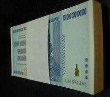 Free Shipping!Full Bundle Zimbabwe 100 trillion Dollar AA 2008,total 100 pcs UNC