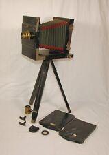 Holz Plattenkamera wohl um 1900 - Reisekamera 13x18 + 2x Objektiv Stativ Zubehör