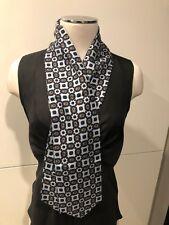 Pale Grey & Choc Paisley 100% Silk Twill Unisex Scarf Cravat 11cm x 120cm