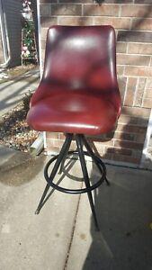 MTS Vtg Retro Mid Century Modern Style Chrome Vinyl Swivel Barstool Chair Stool