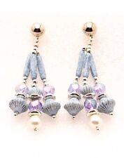 Vintage Blue Saucer Earrings Corrugated Bead Chandelier Dangle Pierced Earrings