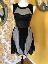 H&M Conscious Collection BL & Gray Faux Leather Bustier & Chiffon Lined Dress 4