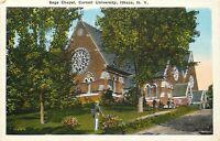 DB Postcard NY I197 Sage Chapel Cornell University Ithaca Students ca1920s