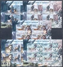 Burundi 2012 Fauna. Sled dogs, 5 mini sheets IMPERF. MNH