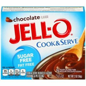 JELL- O Chocolate Cook & Serve SUGAR FREE 2 oz  ( Pack of 3 )