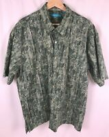 Tori Richard Men's Honolulu Hawaiian Button Up Shirt Green Leaves Size XL Cotton