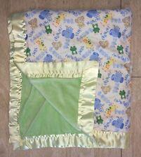 Green Yellow Jungle Animal Lunch Crunch Baby Blanket Satin Fleece Handmade