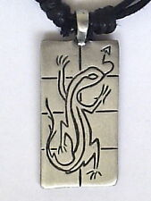 ETHNIC TRIBAL GECKO TAG PEWTER PENDANT 40mm P0130
