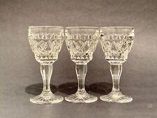 "Vintage Hand Cut Crystal Cordial Sherry Glasses, Diamond Cut, 3.25"", Set of 3"