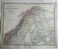 Scandinavia Norway Sweden Finland Lapland 1834 SDUK detailed antique map