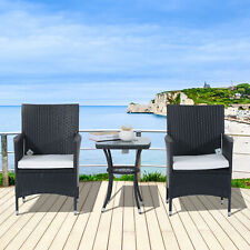 Outsunny Rattan Bistro Set Garden Chair Table Patio Outdoor Cushion Conservatory