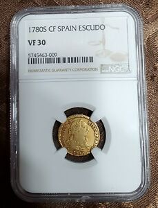 1780 S CF Spain Escudo Gold Coin NGC VF 30 Details, only 5 coins in higher grade
