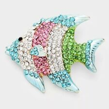 Colored Rhinestone Fish Brooch Nautical Under The Sea Multi