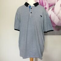 Ted Baker Mens Blue Striped Cotton Short Sleeve Polo Shirt Size 7 UK XL