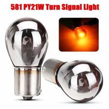 2x 12V Ampoules Clignotant Turn Signal Chrome En Culot 581 PY21W BAU15S Ambre