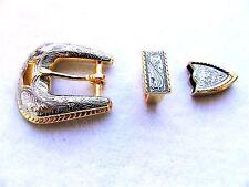 """Gold & Silver Color Vintage Western Style Engraved 3/4"""" Belt Buckle Set"""