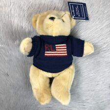 Vintage 1996 POLO Ralph Lauren Stuffed Plush Bear Flag Sweater Americana New