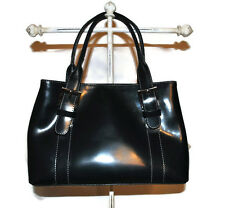 LADIES DESIGNER ABACO PARIS NAVY LEATHER HANDBAG