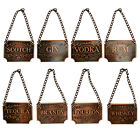 European Liquor Decanter Tags Labels Set of 8 Copper With Adjustable Chain US