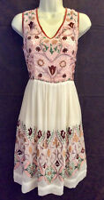 dress, embroidered, white, Scully, fully lined, sleeveless, viscose, NWT, XL