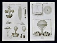1859 Didot Freres Prints x 2 - Ballooning Helium Weather Balloons Parachute Air