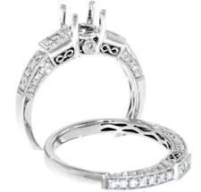 Diamond Ring Setting 1.12ct Semi Mount Band Princess 18k White Gold Wedding Set