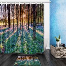 Tema de madera y flor Lobo de Dragón Baño Cortina de ducha de tela Set y 12 Ganchos