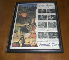 1949 HAMM'S BEER FRAMED COLOR AD PRINT - HERE'S HOW TO BE A SMOOTH FLY FISHERMAN