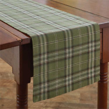"""Green, Brown, Ivory  Plaid 13""""x54"""" Table Runner by Park Designs - Spruce Pine"""