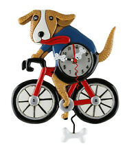 Adorable BICYCLE DOG Designer Wall Clock by Allen Designs