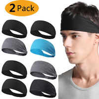 2X Mens Women Sweat Sweatband Headband Yoga Gym Running Stretch Sports Head Band