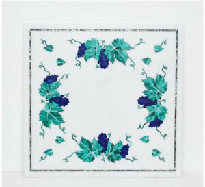"24"" Marble Table Top Semi Precious Stones Floral Inlaid Art Handmade work"