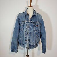 Vintage Levis Denim Trucker Jean Jacket Size 46 USA Made Faded Worn