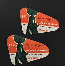 JAL Japan Airlines Luggage Labels Fly The Pacific Vintage Lot 2