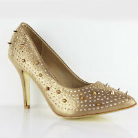 WOMENS WEDDING EVENING HIGH HEEL STUDDED COURT SHOES LADIES SANDALS NEW SIZE 3-8