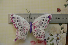 WhiteFuchsiaPurple Feather BUTTERFLY 11.5x8cm&2.5cm Squeeze Clip-Touch Of Nature
