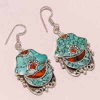 Earrings natural Tibetan turquoise coral gemstone handmade jewelry 15 grams