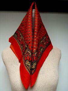 Hindi Flowering Cotton Blend 21 x 23 Square Scarf Red Dark Brown Yellow EUC