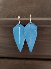 Handmade GENUINE Leather Feather Earrings Blue