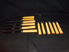 Vintage Set of 6 Retro Butterscotch Bakelite Knives & Forks