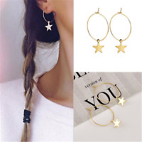 Chic Vintage Popular Simple Large Circle Star Hoop Earrings Women Jewelry Party