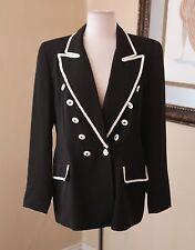 Vtg Criscione Black White Braided Tuxedo Jacket Blazer Formal Evening Sz M 80s