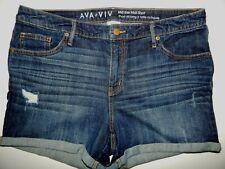 Shorts AVA & VIV 16W Dark wash Denim Mid Rise Midi Short Cuffed Distressed B29