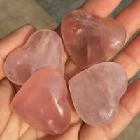 5PCS Natural Rose Quartz Heart Specimen Pink Crystal Reiki Healing