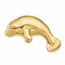 14K Yellow Gold Manatee Slide Necklace Msrp $1282